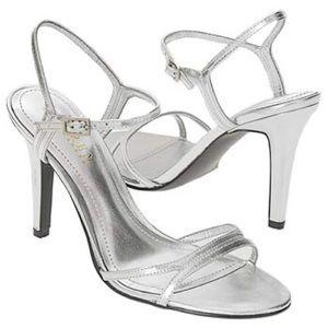 RALPH LAUREN silver Aela strappy sandals heel 10 M